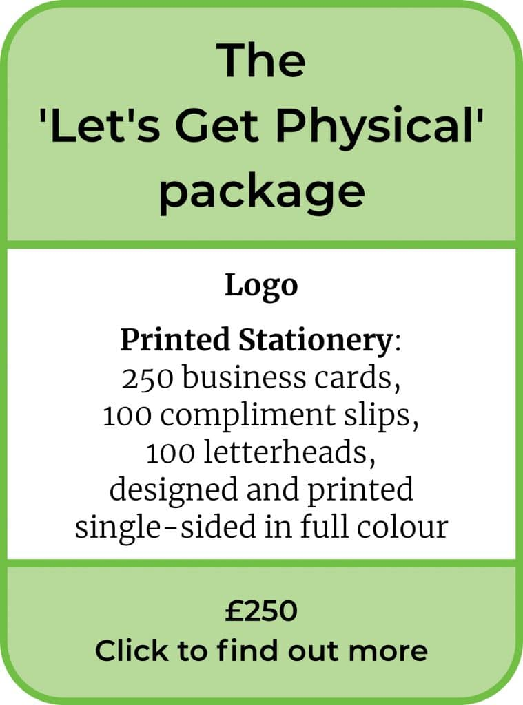 The Let's Get Physical Package. Logo and Printed Stationery. £250