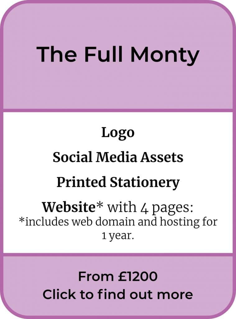 The Full Monty Package. Logo, Social Media Assets, Printed Stationery & Website, from £1200